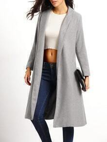 Lapel Pockets Long Grey Coat