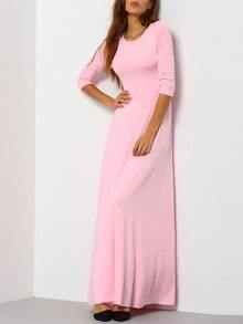 Round Neck Maxi Pink Dress
