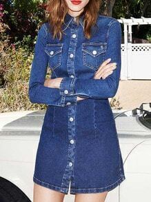 Navy Lapel Long Sleeve Buttons Denim Dress