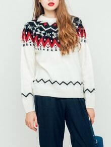 White Round Neck Geometric Print Sweater