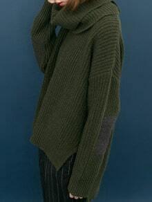 Dark Green High Neck Elbow Patch Split Sweater
