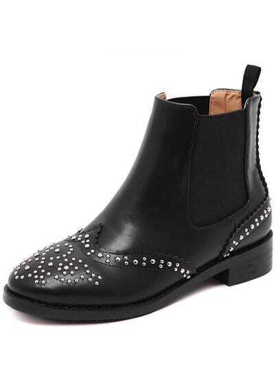 Black Round Toe Bead Boots