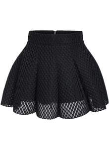 Black Mesh Flare Mini Skirt