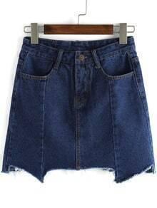 Navy Pockets Asymmetrical Denim Skirt
