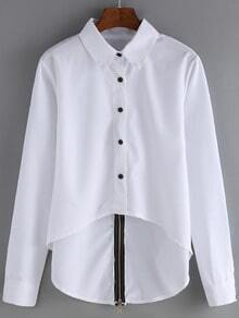 White Lapel Zipper Back Dip Hem Blouse