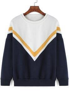 Colour-block Round Neck V Print Sweatshirt