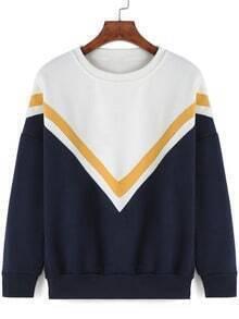 Colour-block Round Neck V Print Sweatshirt