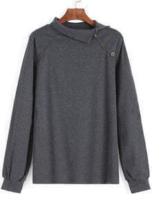 Grey Long Sleeve Buttons Loose Sweatshirt