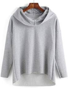 Grey Hooded Long Sleeve Dip Hem Sweatshirt
