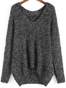 Dark Grey V Neck Dip Hem Sweater