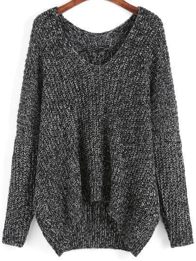 Dark Grey V Neck Dip Hem Sweater