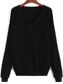 Black V Neck Long Sleeve Knit Sweater
