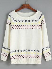 Beige Round Neck Geometric Print Sweater