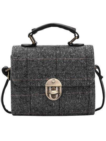 Grey Metal Buckle Plaid Shoulder Bag