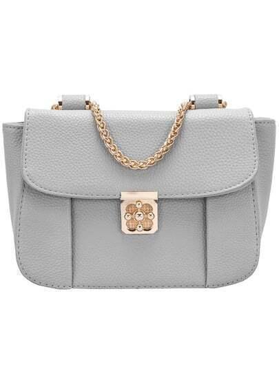 Grey Chain Cross Buckle PU Shoulder Bag