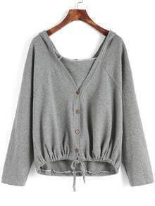 Grey Hooded Buttons Knotted Loose Coat