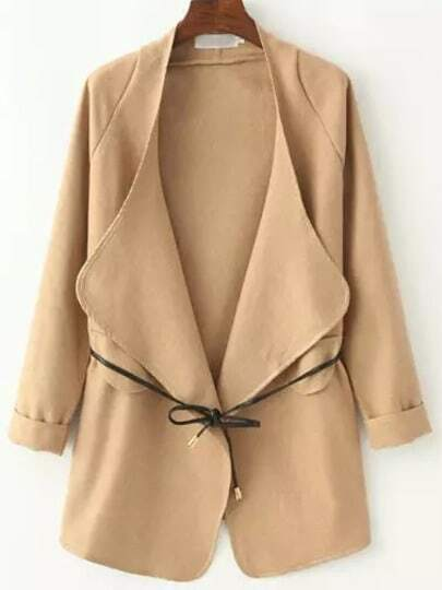 Khaki Long Sleeve Contrast Trims Coat