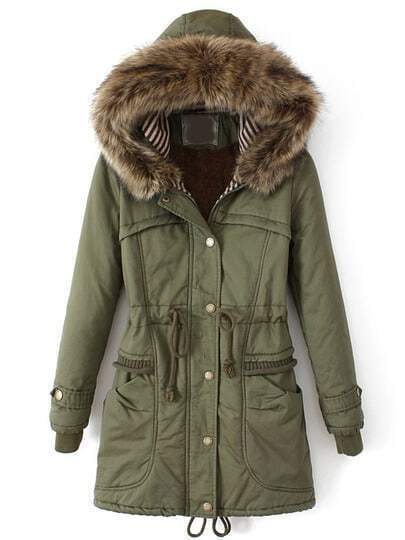 Green Faux Fur Hooded Drawstring Pockets Coat