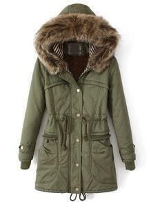 Green Faux Fur Hooded Drawstring Pockets Coat