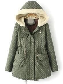 Green Hooded Long Sleeve Stars Print Coat