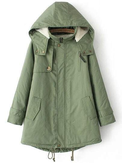 Green Hooded Long Sleeve Loose Coat
