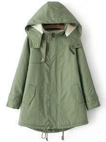 Green Hooded Long Sleeve Loose Coat
