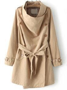 Khaki Long Sleeve Buttons Tie-Waist Coat