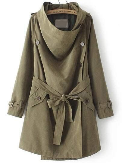 Green Long Sleeve Buttons Tie-Waist Coat
