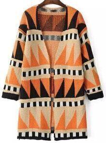 Orange Black Long Sleeve Geometric Print Cardigan