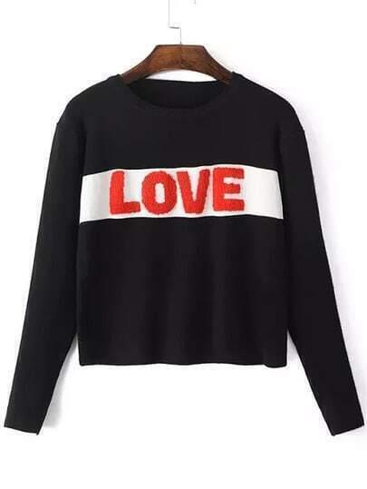 Black Round Neck LOVE Embroidered Crop Knitwear