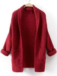 Red Long Sleeve Pockets Knit Cardigan