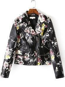 Multicolor Lapel Oblique Zipper Floral Jacket
