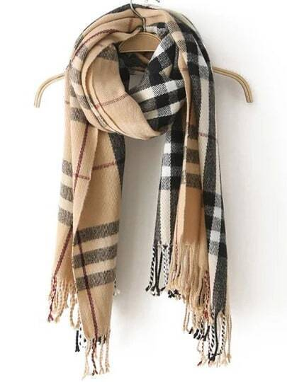 Beige Plaid Tassel Classical Scarve