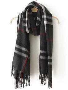 Black Plaid Tassel Classical Scarve