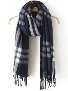 Navy Plaid Tassel Classical Scarve