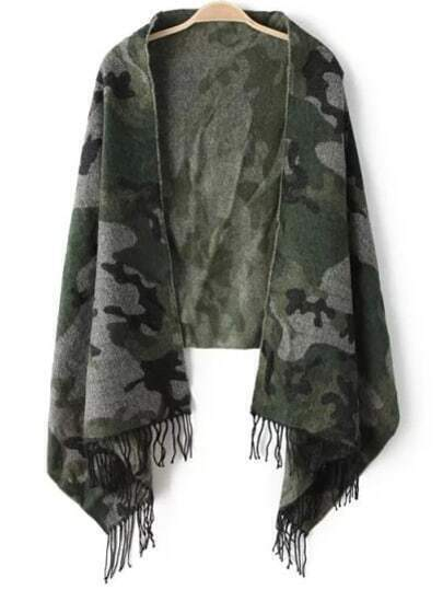 Green Camouflage Print Tassel Scarve