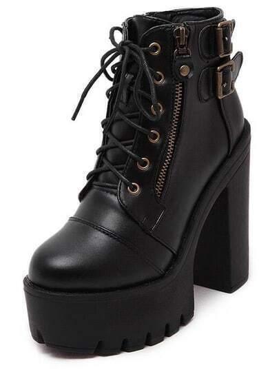Black High Heel Hidden Platform Buckle Strap Boots