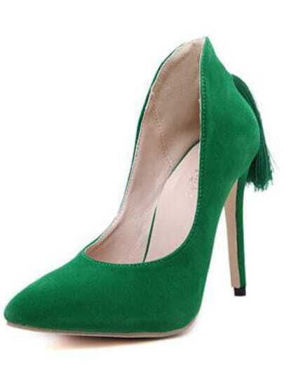 Green Stiletto High Heel Tassel Pumps