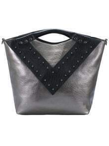 Grey V-shaped Rivet PU Tote Bag