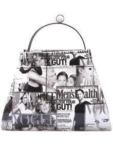 Black White Magazine Print Tote Bag
