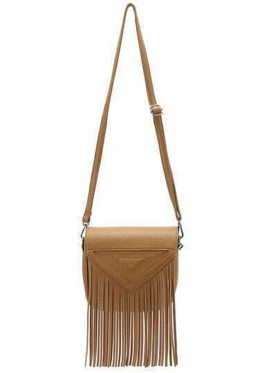 Yellow Triangle Pattern Tassel Shoulder Bag