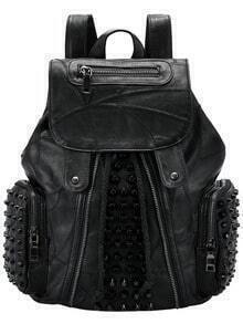 Black Zipper Rivet PU Backpack