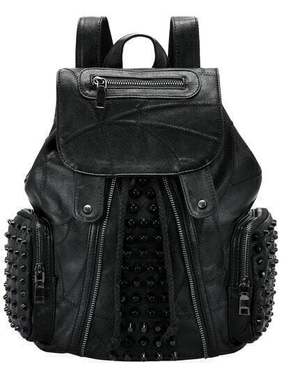 Black Zipper Rivet PU Backpack