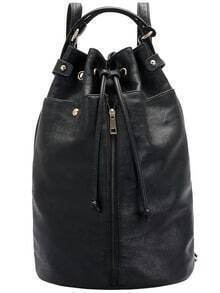 Black Drawstring Zipper PU Backpack