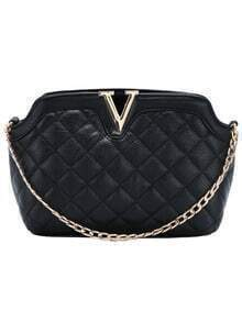 Black Diamond Patterned Metal V Shoulder Bag