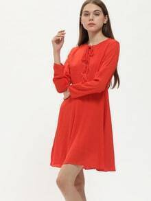 Orange Long Sleeve Lace Up Dress