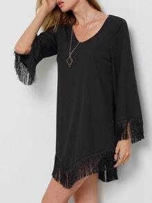 Black V Neck Tassel Dress
