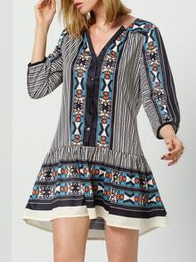 Multicolor V Neck Vintage Print Dress