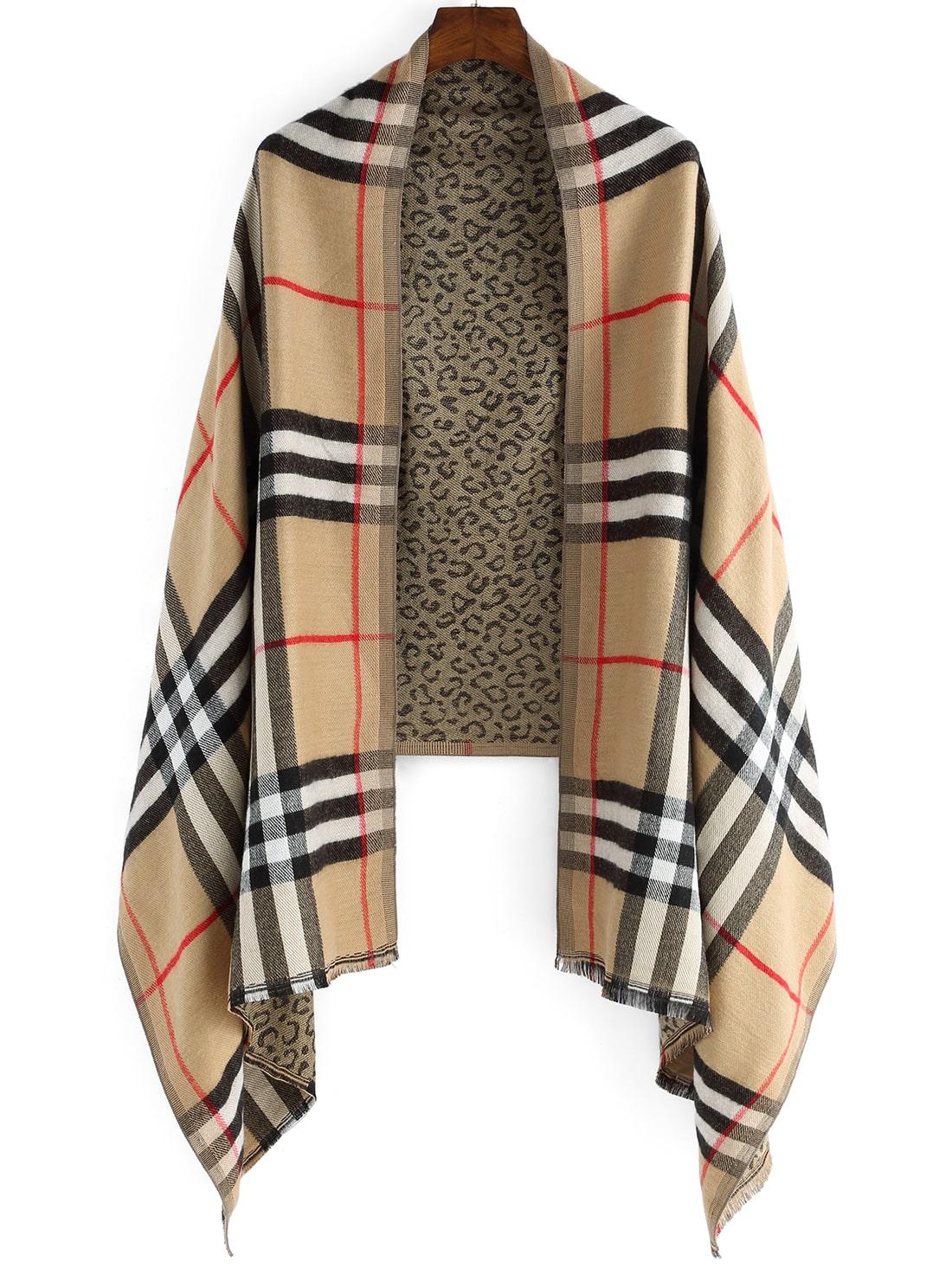 color block plaid leopard scarf shein sheinside. Black Bedroom Furniture Sets. Home Design Ideas