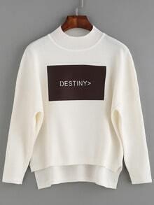 White Letter Patch Dip Hem Sweater